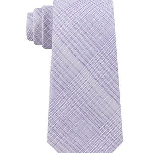 Calvin Klein Men's Hi-Ridge Lilac Plaid Slim Tie